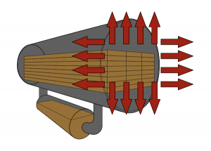 Illustration of pressure-treated lumber is placed into a sealed tank during the treating process