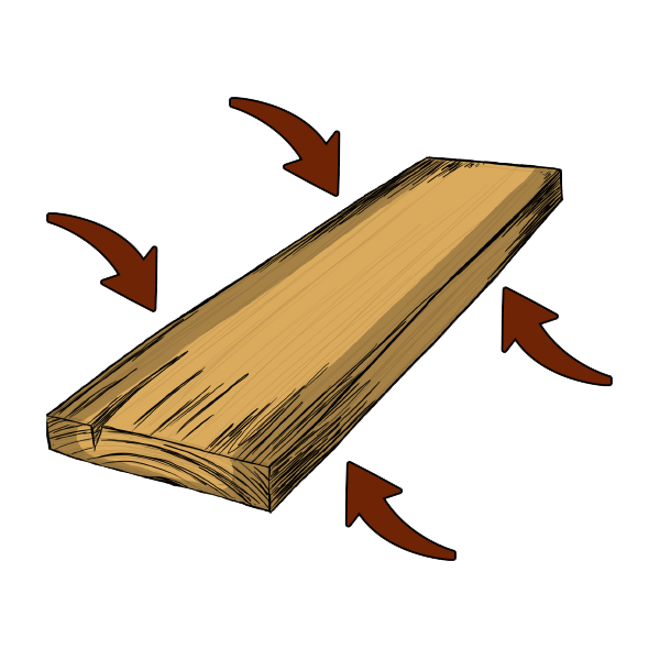Illustration of how chemicals pressure-treat wood for resistance to elements