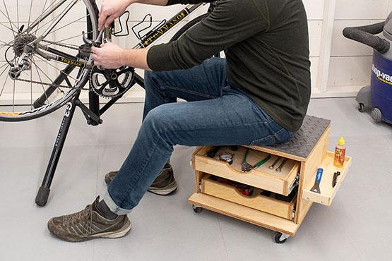 Rolling Work Seat and Tool-Storage Cart