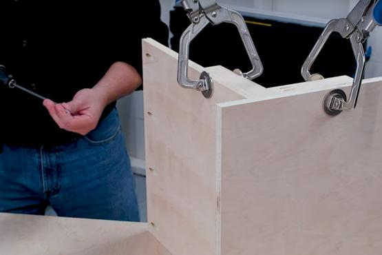 How to hold large case pieces during assembly