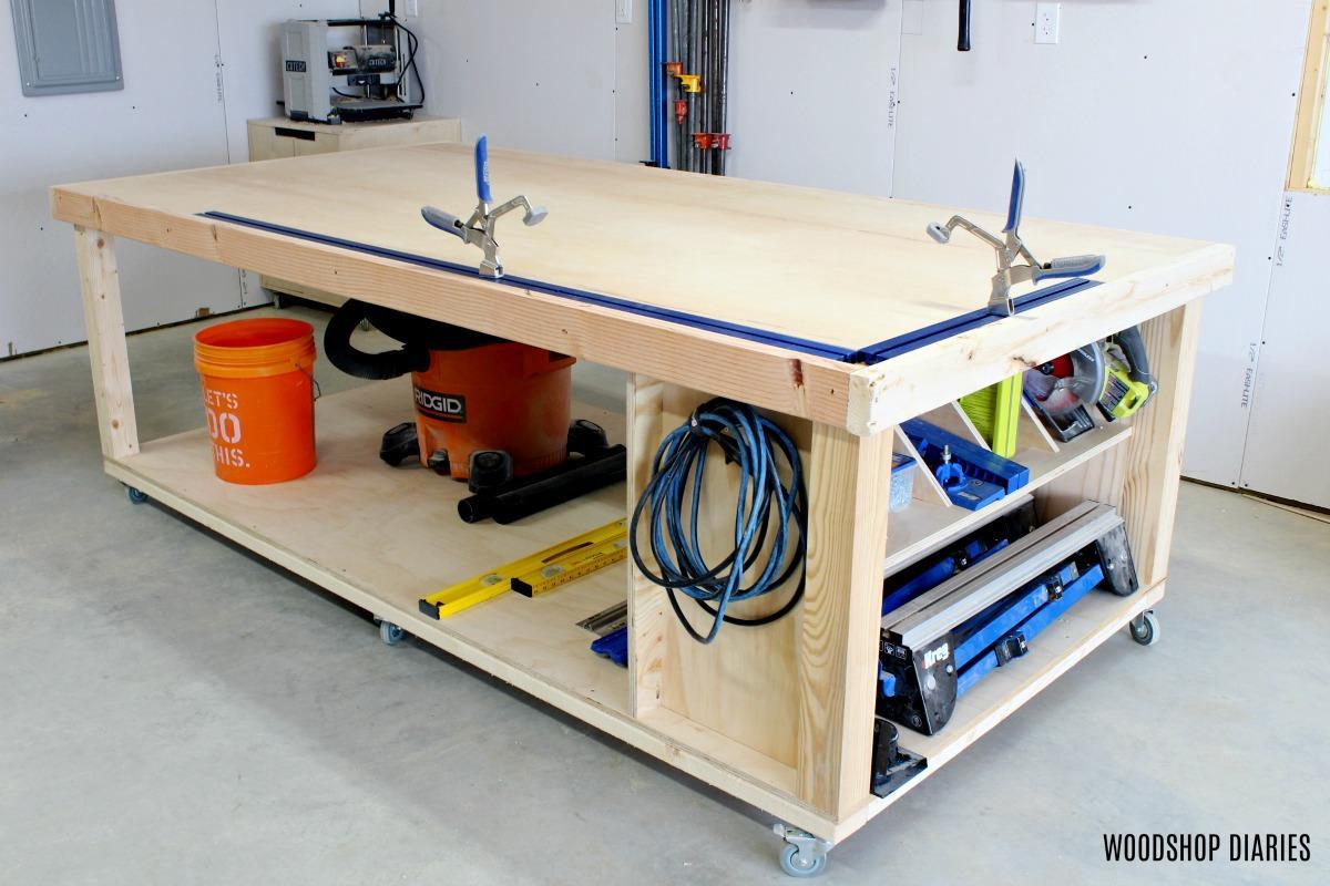 DIY Mobile Workbench with Storage Shelf
