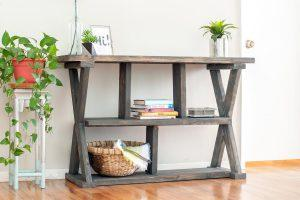 X-leg Console Table with shelves