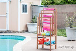 DIY Freestanding Outdoor Towel Rack