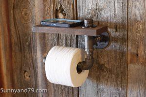 Rustic Scrap Wood and Pipe Toilet Paper Holder