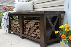 DIY Rustic X Bench With Shelf