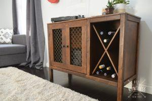DIY Wooden Sideboard/Record Cabinet With Wine Rack