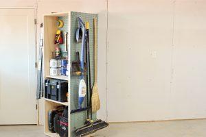 DIY Lazy Susan Garage Storage Cabinet
