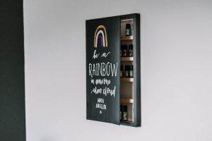 DIY Wooden Sign + Hidden Essential Oils Shelves
