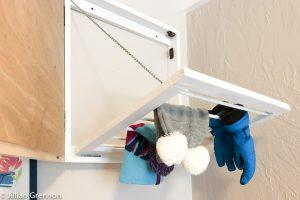 Hidden Mudroom Drying Rack