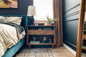 Wide Nightstand with Drawer