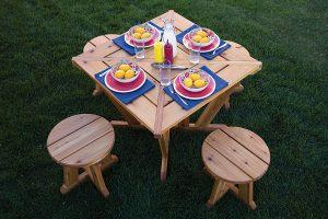 Compact Picnic Table and Stools