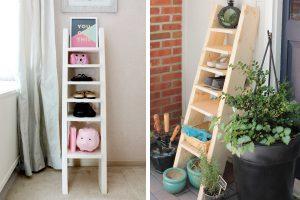 Rustic Ladder Shoe Shelf