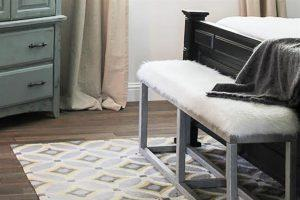 Upholstered Bench with Faux Metal Frame