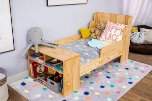 Toddler Bed with Built-In Shelves