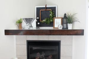 Corner Wooden Mantel
