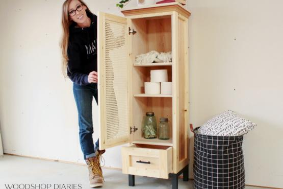 DIY Cane Door Linen Cabinet