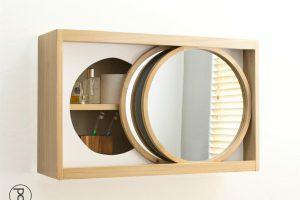Rolling Mirror Bathroom Wall Cabinet
