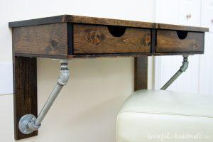 Rustic Industrial Wall Mounted Desk