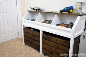 Toy Storage Console with Rolling Bins