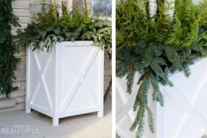 Two Large Outdoor Farmhouse X-Style Planters