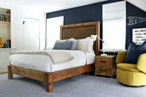 wood and leather bed