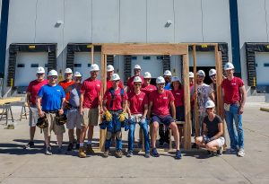 Kreg Tool employees participate in a Habitat for Humanity build